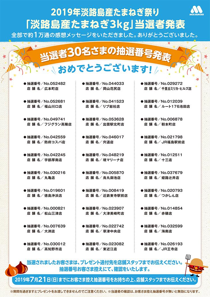 「淡路島産たまねぎ3kg」当選者発表