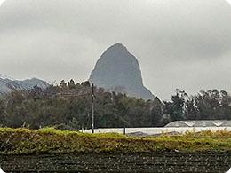 畑の後ろにはこんな形の山が…
