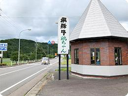 国道を行くと、看板に「鶏ちゃん」の文字