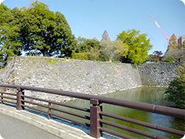 八代宮入口付近の本丸跡の石垣