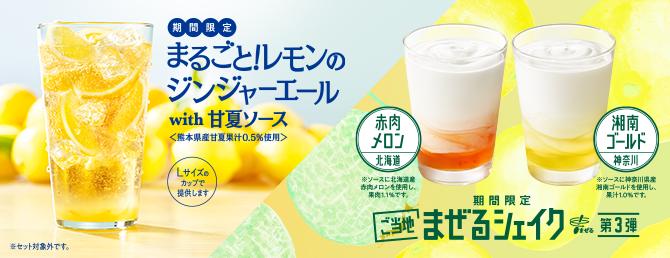まるごと!レモンのジンジャーエールwith甘夏ソース<熊本県産甘夏果汁0.5%使用>とまぜるシェイク赤肉メロン<北海道>&湘南ゴールド<神奈川>