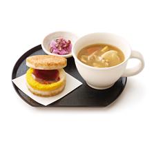 朝ライスバーガー朝御膳(たまご 旨だし醤油ソース)