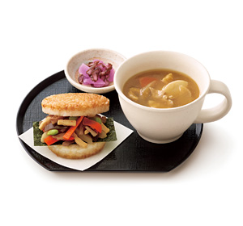 朝ライスバーガー朝御膳(彩り野菜のきんぴら 国産野菜使用)