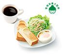 朝のバランスプレート<卵とベーコン&ミートソース>