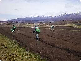 肥料をまくスタッフ
