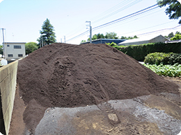 ご自慢のコーヒーかすと籾殻の堆肥の熟成度合いを確認